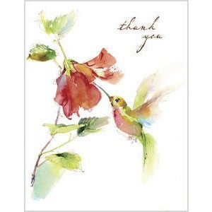 Designer Watercolor Hummingbird And Flower 'Thank You' Note Cards - Set of 12