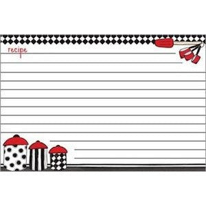 Recipe cards have a bright red and black design of 3 canisters on a white background and include lines for easier writting.