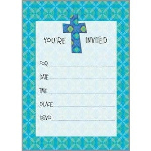 Set Of 10 Blue/Green Cross Religious Fill In Invitations