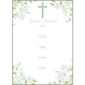 Set Of 10 Floral and Cross Design Religious Fill In Invitations