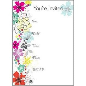 Set Of 10 Colorful Floral All Purpose Fill In Invitations