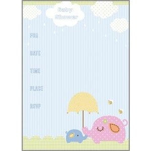 Set Of 10 Baby Shower Fill In Invitations Featuring Elephant And Umbrella Design