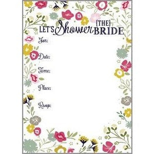 Set Of 10 Elegant Floral Bridal Shower Fill In Invitations