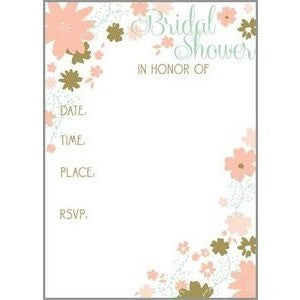 set of 10 mint and gold floral fill in bridal shower invitations