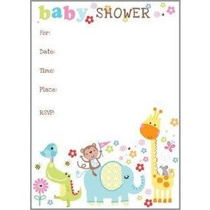 Set Of 10 Colorful Baby Animal Baby Shower Invitations