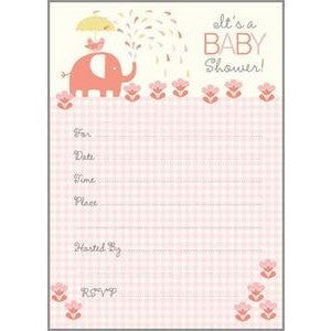 Set Of 10 Pink Elephant Fill In Baby Shower Invitations