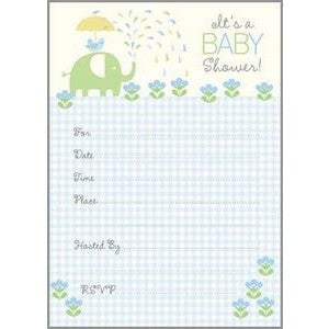 Set Of 10 Green And Blue Elephant Design Baby Shower Fill In Invitations