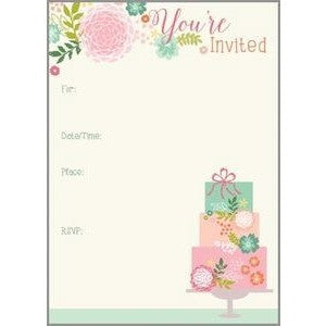 Set of 10 Pastel Wedding Cake Bridal Shower Fill In Invitation
