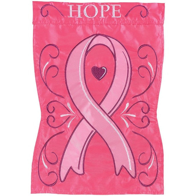 Flag has a dark pink background and lighter pink heart design in the center. Message of 'Hope' is appliqued at the the top.