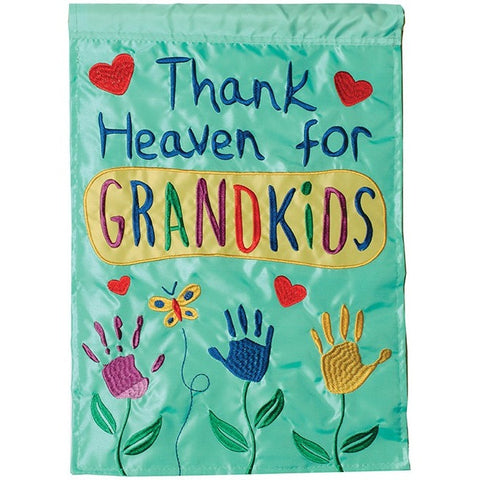 Bright teal green flag is fully appliqued with bright colors throughout and 3 small hands depicted as flowers growing in your garden.