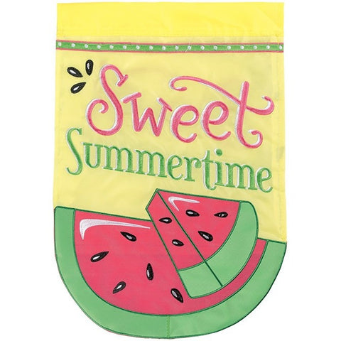 Watermelon 'Sweet Summertime' Decorative Applique Garden Flag
