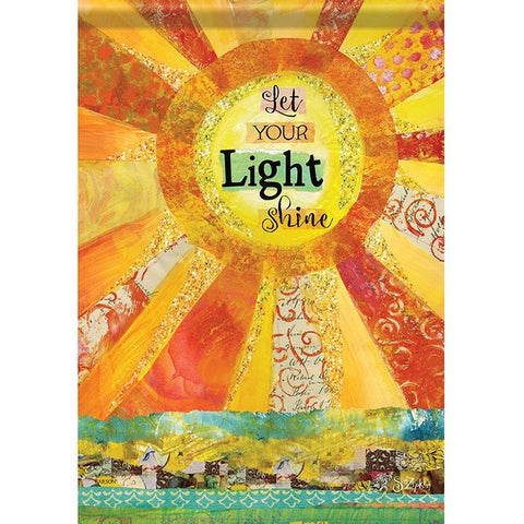 Flag depicts a beautiful sun with glitter interspersed over yellow, orange and red rays. The message is in bold black and reads 'Let Your Light Shine'.