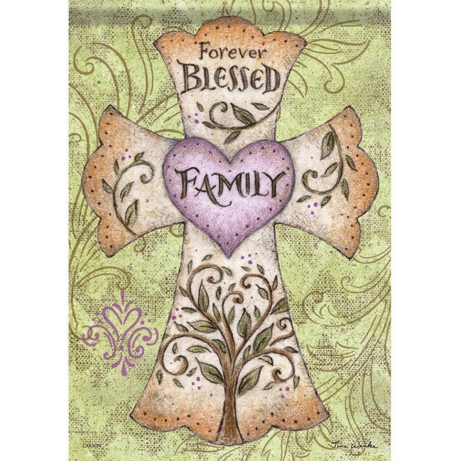 "Bright green peach and purple colors, a beautiful cross design and the message ""Forever Blessed Family"" printed onto exclusive Dura Soft™ fabric brings happiness to your garden!"