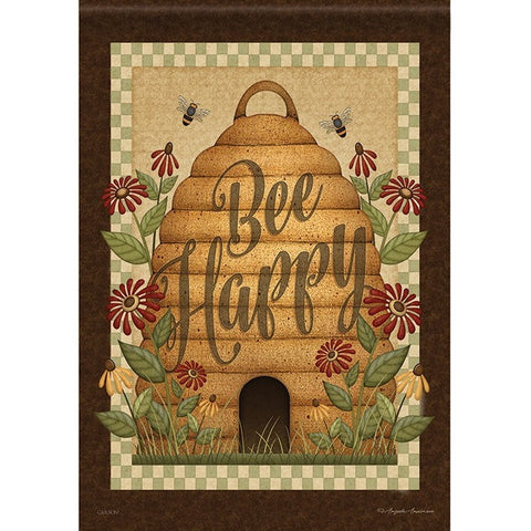Brown and tan colors set off the fun country style bee hive design of this flag.