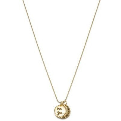 14k yellow gold plated sterling silver necklace has a snake chain and two charms. The first charm is circular with the words 'Love You' and the second charm is a crescent moon shape with the words 'To The Moon And Back'.