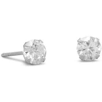 5mm CZ stud earrings have .925 Sterling Silver posts.