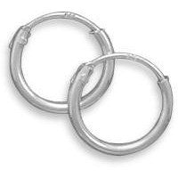 Endless hoop earrings measure 10mm and are made from .925 sterling silver