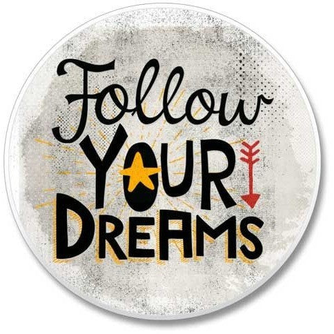 "colorful Boho style coaster has an arrow and a special daily reminder to ""Follow Your Dreams"""