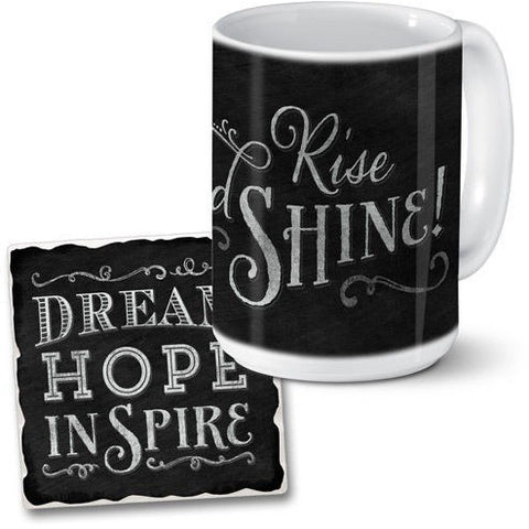 Chalk style mug and coaster set with white stylized writing of two separate messages. The mug gets you going with the message 'Rise and Shine' while the coaster reminds you to 'Dream Hope Inspire'.