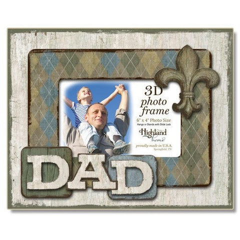 Rustic style 3D wood photo frame with 'Dad'