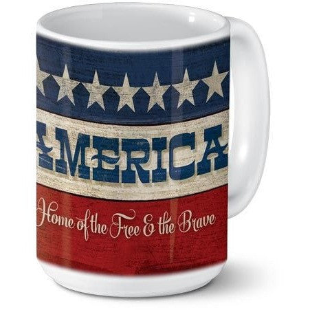 rustic styled red, white and blue ceramic mug has a rustic patriotic style and features a border of stars accents the mug.