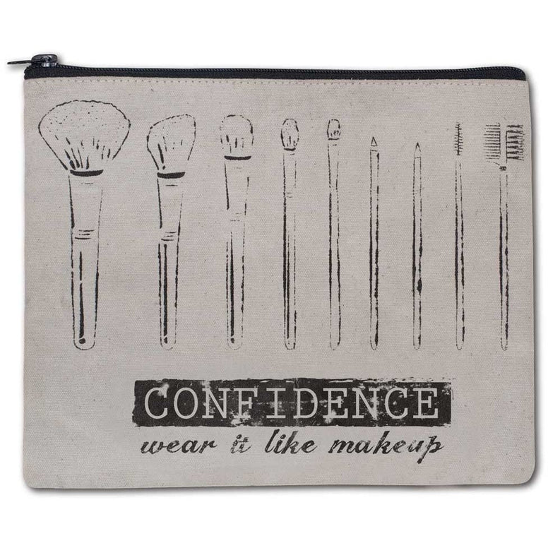 Gray canvas has a design of makeup brushes and the message 'Confidence, Wear It Like Makeup'