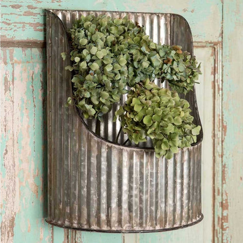 Bin is made from corrugated tin and is in a half-round shape and vintage country style.