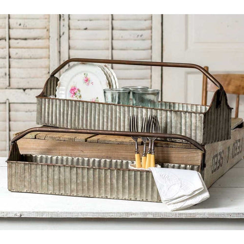 Set of two vintage style decorative corrugated metal tool carriers with convenient handles.