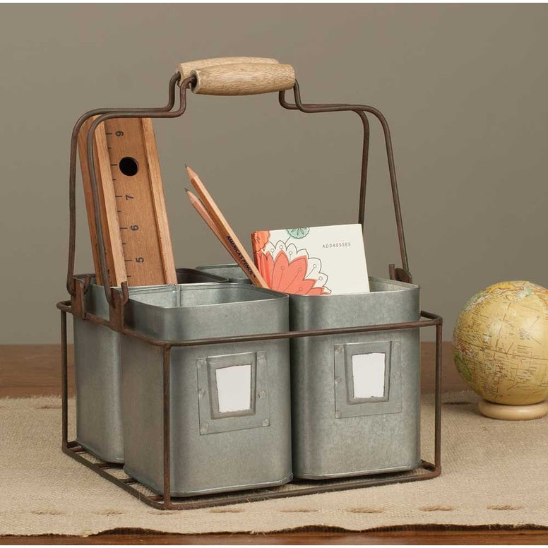 Made of galvanized metal, the four bins are set in a rusted look wire carrier that has two metal handles topped by natural wood handles. Each pot has a removable paper label.