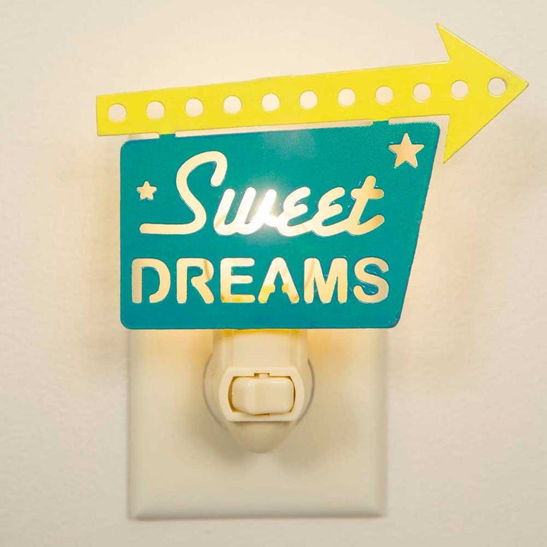 "Retro look night light with the message of ""Sweet Dreams"" on bright yellow and teal colored meta"