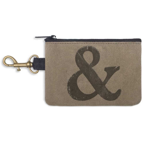 Cotton coin purse features a fun distressed ampersand decoration, zippered top and handy clip.