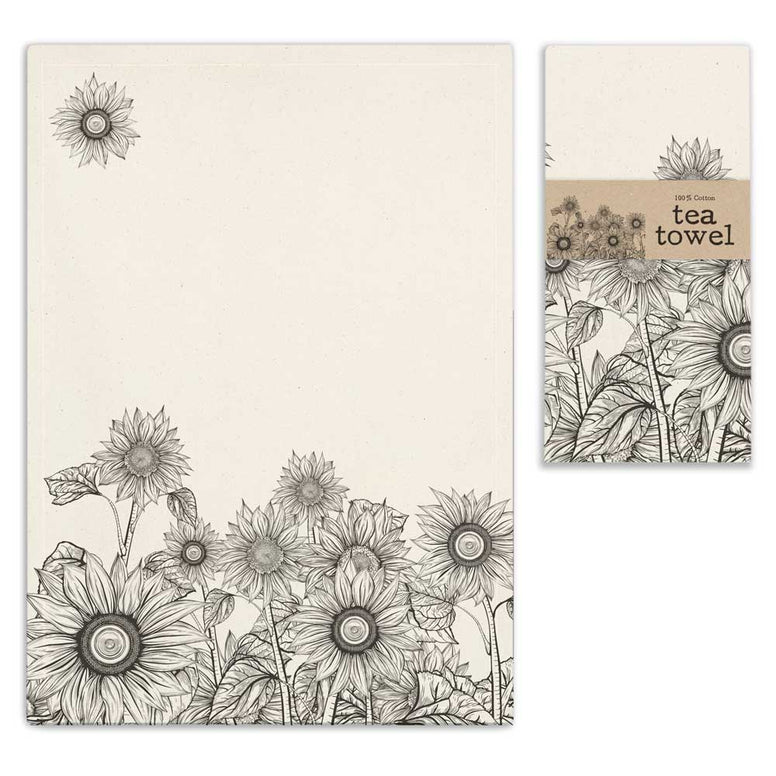 Special rustic tea towel features a fun old fashioned sack look with a fun sunflower design