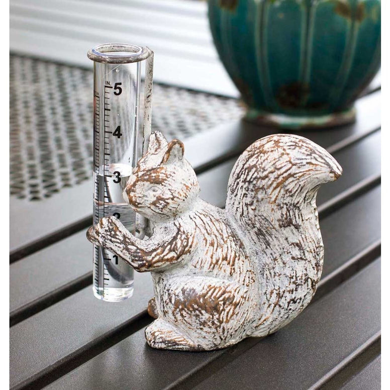 Cast iron squirrel statue has a distressed white finish and holds a glass rain gauge in it's front paws.