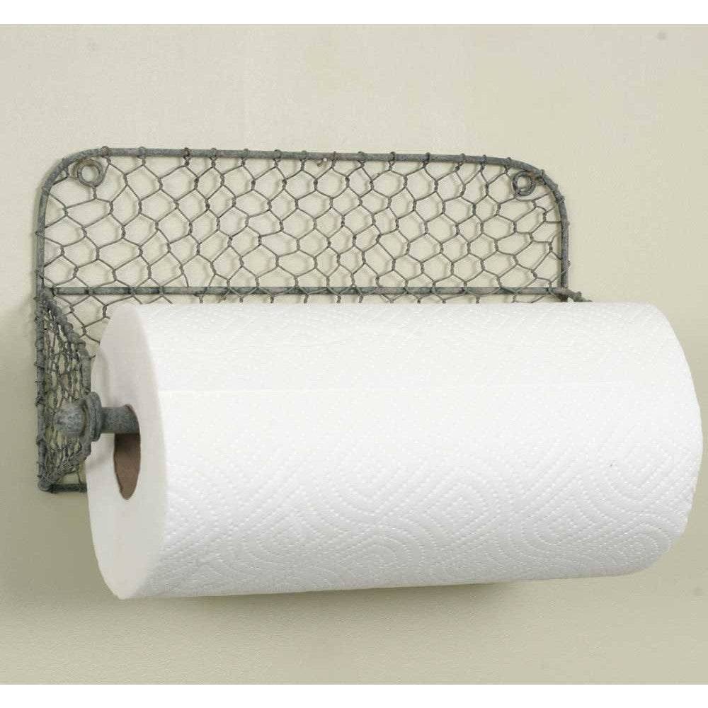 Farmhouse Chicken Wire Wall Mounted Paper Towel Holder Stock Photo