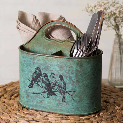Divided caddy features a vintage rusted teal finish and has the lovely scene of four birds on a branch printed on both sides.  This caddy is made of metal and is divided into three sections.