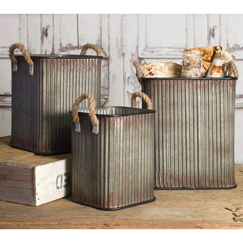 Set of 3 bins comes in different size and each features a gray metal distressed finish for an a used vintage look. Each bin includes a sturdy rope handle.