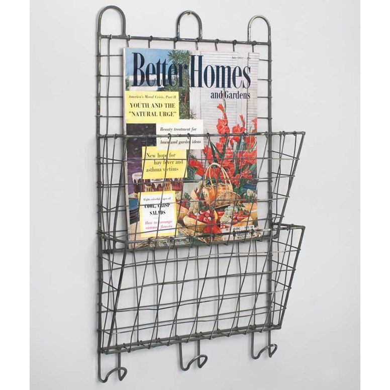 This two pocket file wall organizer features wire construction and rustic distressed finish gives your home an inspired look in keeping with current trends.