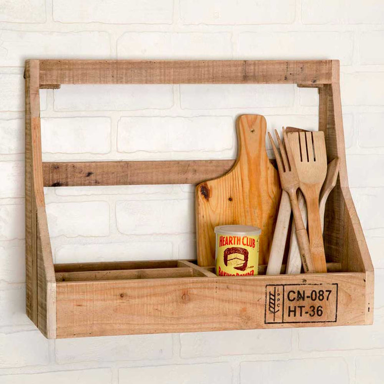 This wall organizer features rustic wood construction and 4 section storage. The wood has a natural finish and features a unique branding label for a trendy look.
