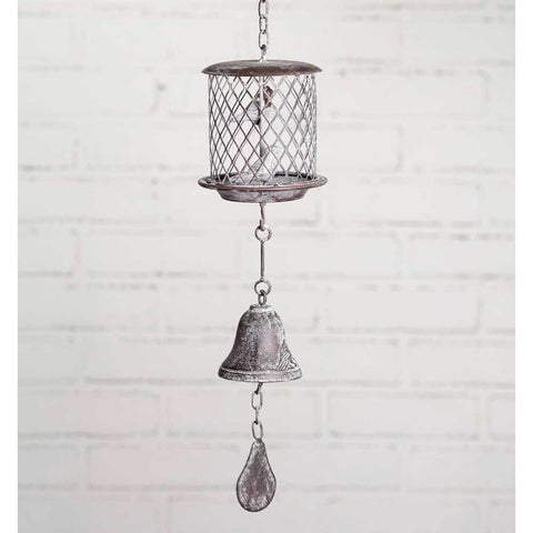 This cast iron bell features a birdcage design that features 2 birds and a distressed white finish.