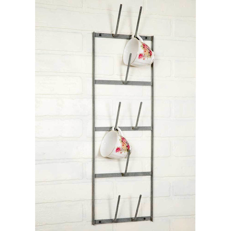 Vintage Industrial Farmhouse Styled Cup/Bottle Drying Wall Rack