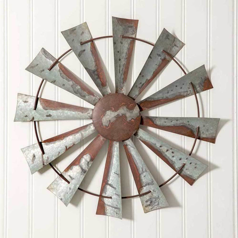 This unique piece features distressed galvanized metal and rusted finish for a vintage  industrial feel.