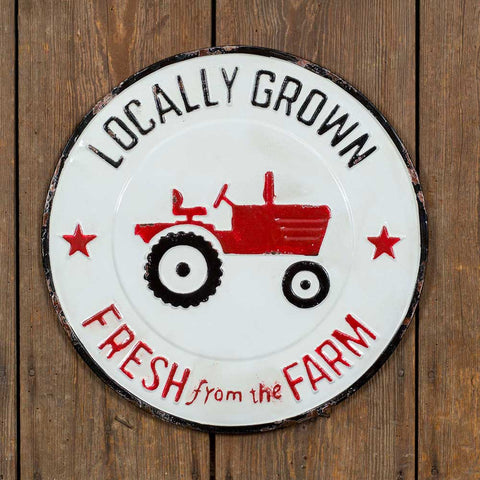 "Sign features a distressed white, red and black finish, vintage tractor and the messages ""Locally Grown"" and ""Fresh From The Farm"""