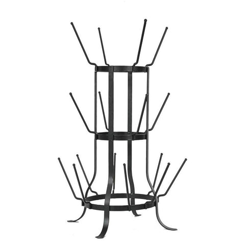This tall rack is made of black metal and has metal prongs to hold juice glasses.