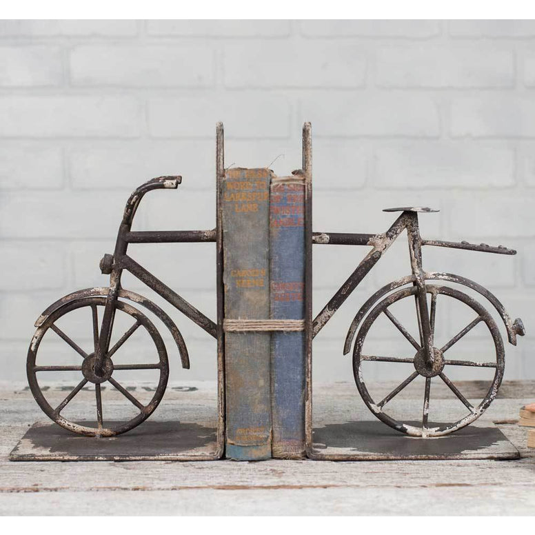 Metal bookends come in a set with a split bicycle design. Bookends have a distressed finish for the perfect farmhouse touch.