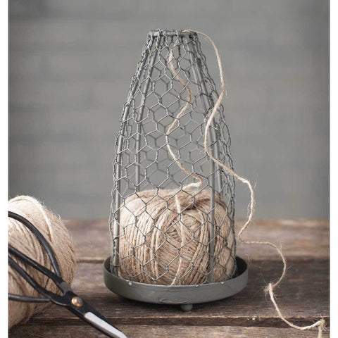 Jute dispenser cloche is made of metal, the top cloche is made from chicken wire and is removable.