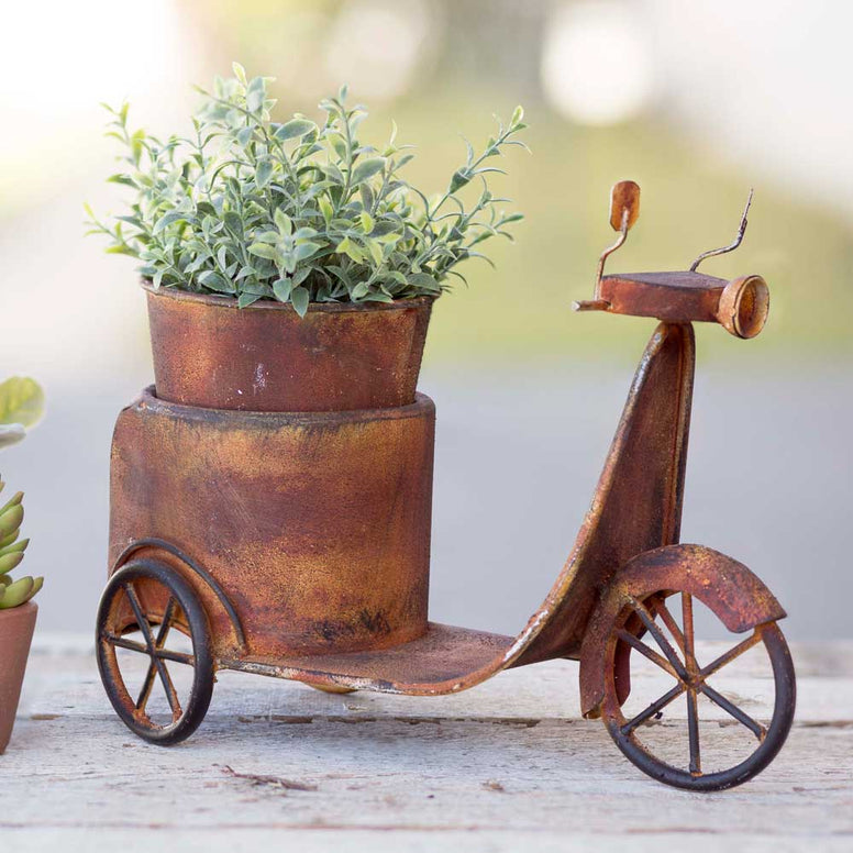 Shaped like an old fashioned scooter, this planter features a rusty finish for the perfect rustic touch. Metal pot is included.