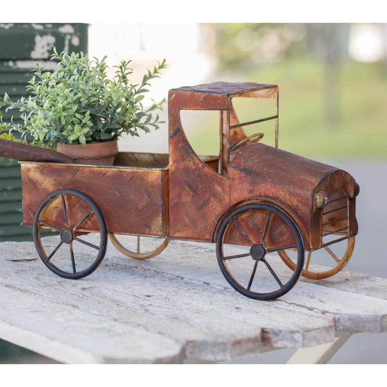 Outdoor/Indoor Planter Featuring Rusty Pickup Truck Design