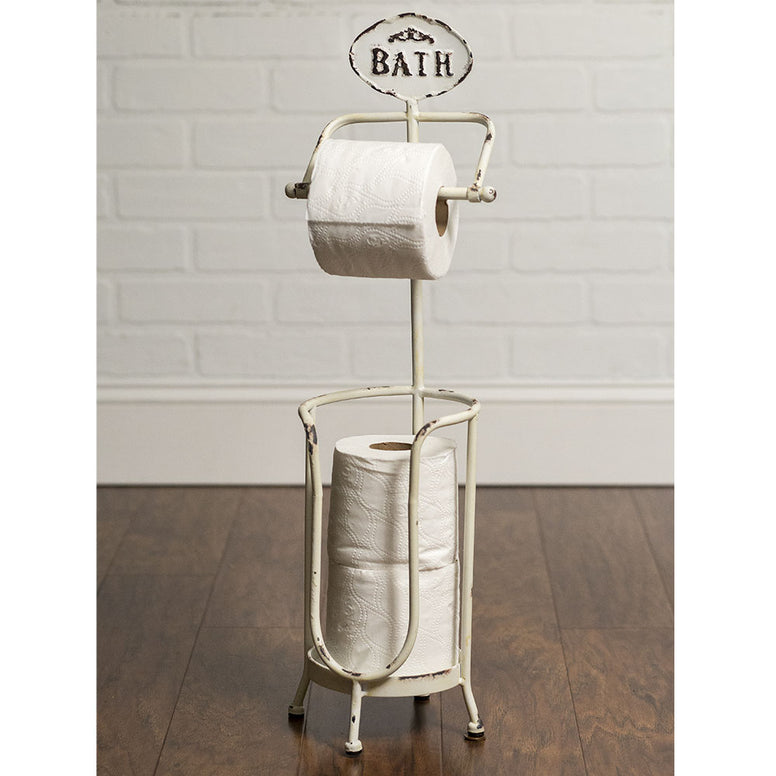 This bath tissue holder is made of metal, features a 'Bath' plaque at the top and distressed white finish. Will accomodate 3 rolls of toilet paper