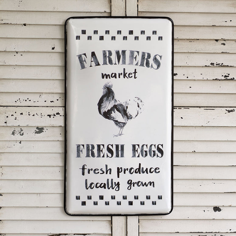 Large white and black metal sign has a fun rooster design, black and white check borders and the words 'Farmers Market', 'Fresh Eggs', 'Fresh Produce Locally Grown'.
