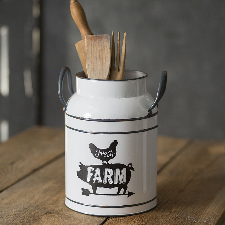 Famhouse Style Milk Can Canister Featuring 'Fresh Farm' Design